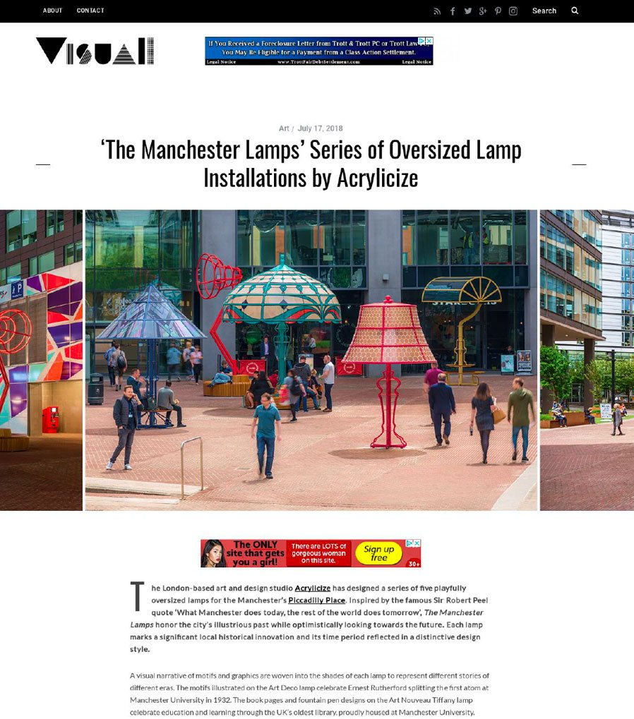 The Manchester Lamps Series of Oversized Lamp Installations by Acrylicize